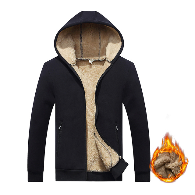 New Arrival Winter Thickening Hoodies Men Casual Jacket Fur Lining Solid Warm Cloth Zipper Coats Sweatshirts Cashmere Parkas 624