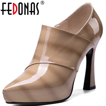 FEDONAS  Women Pumps Side Zipper Spring Summer Pointed Toe Fashion Cow Patent Leather Party Pumps High Heeled Shoes Woman