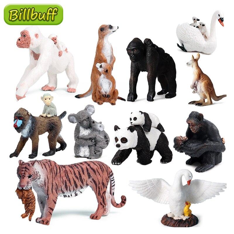 Simulatie Wilde Zoo Dieren Afrikaanse Aap Orang-oetan Modellen Action Figures Wasbeer Beer Herten Beeldjes Miniatuur Collectie Speelgoed