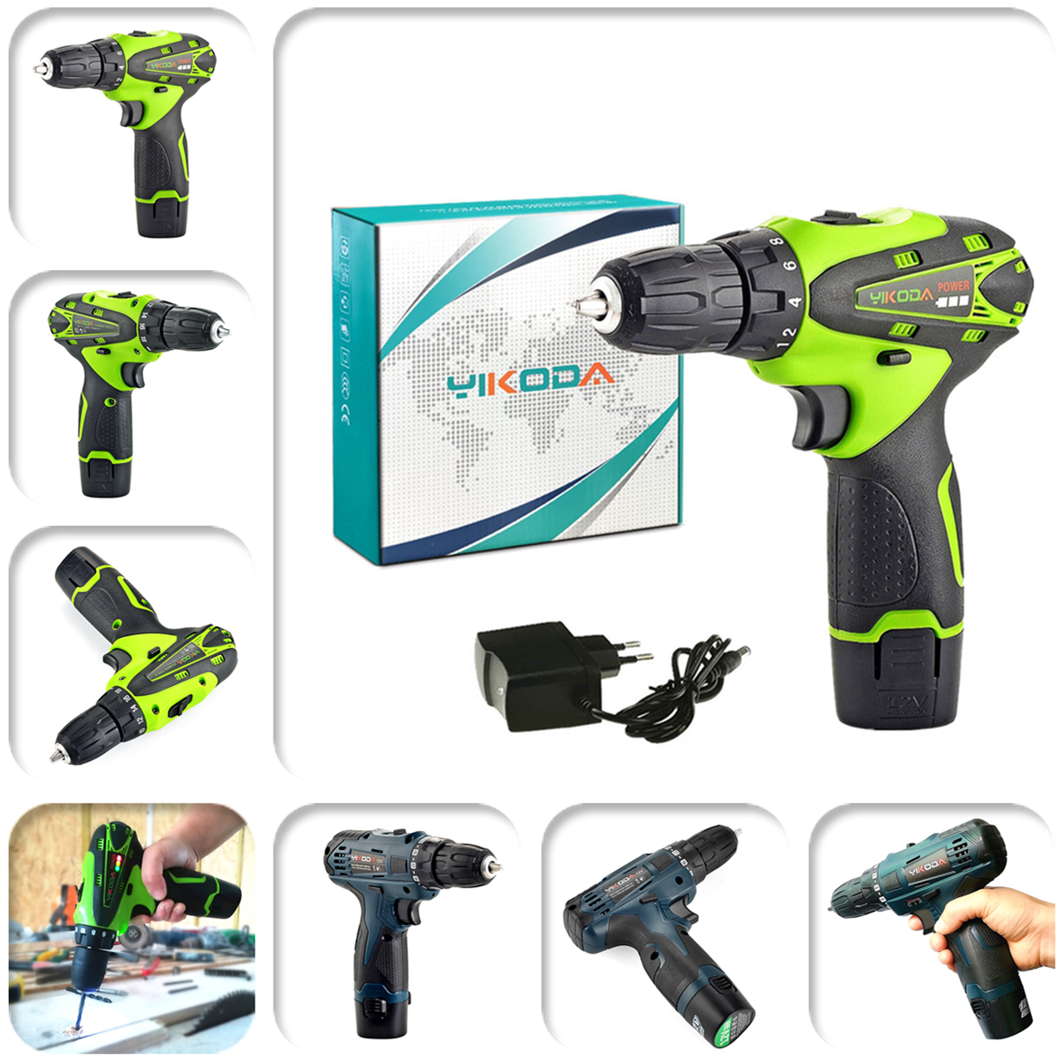 12v Cordless Drill Furniture Install 10mm Rechargeable Electric Screwdriver Led Lighting Double Speed Forward Reverse Power Tool