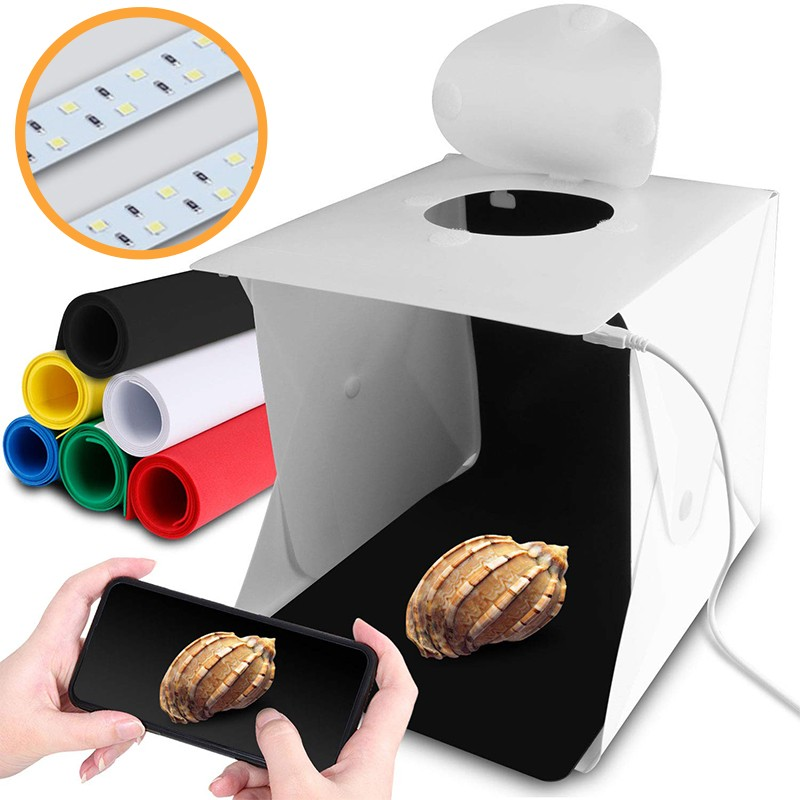 6 Backdrops Folding Photography Light Box Portable Photo Studio Box With Dual LED Strip Lights for