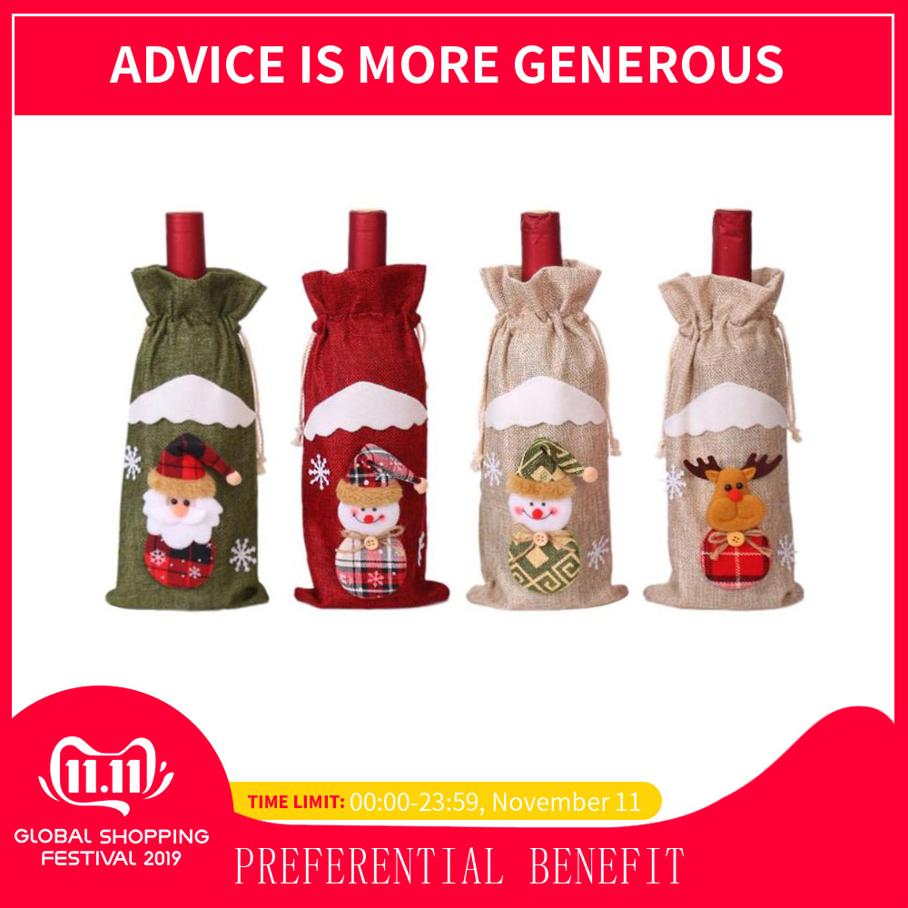 Cute Santa Claus Snowman Elk Red Wine Bottle Cover Bags Table Xmas Decor Christmas  Bottle Bag Decoration Dinner Table Decor