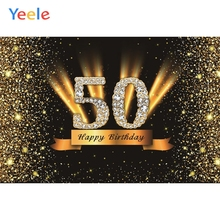 Yeele 50th 18 25 30 40 60 75 Birthday Party Gold Polka Dots Portrait Golden Photography Backdrop Photo Background Studio