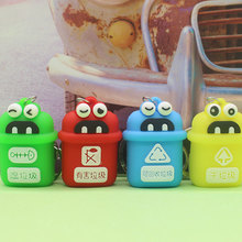 Cute Cartoon ashcan keychain Creative garbage classification bag pendant Popular couple gift #LS1908014