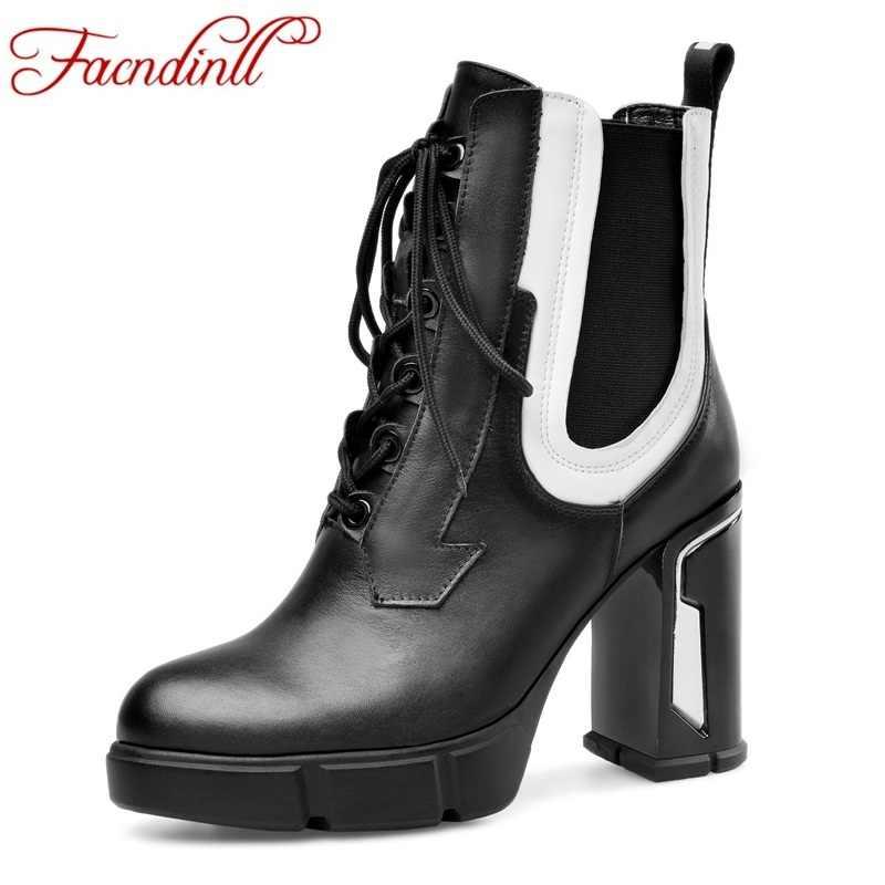 FACNDINLL merk echte koe lederen enkellaarsjes schoenen voor vrouwen sexy hoge hakken platform schoenen vrouw jurk party rijlaarzen