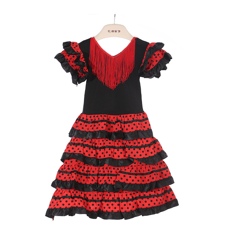 Traditional Spanish Flamenco Dance Dress For Girls Classic Flamengo Gypsy Style Skirt Bullfight Festival Ballroom Red