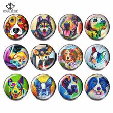 12pcs/lot Mix Colorful Dog Glass Beads Cartoon Pattern Charm 18mm Snap Button For Glass Snaps Bracelets DIYJewelry Accessories(China)