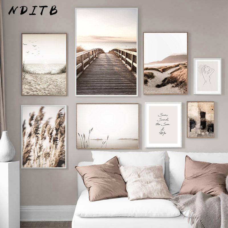 Scandinavian Nature Landscape Canvas Painting Grass Bridge Beach Sunset Wall Art Poster Nordic Print Modern Picture Home Decor