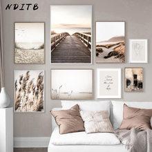 Scandinavo natura paesaggio tela pittura erba ponte spiaggia tramonto Wall Art Poster stampa nordica immagine moderna decorazioni per la casa