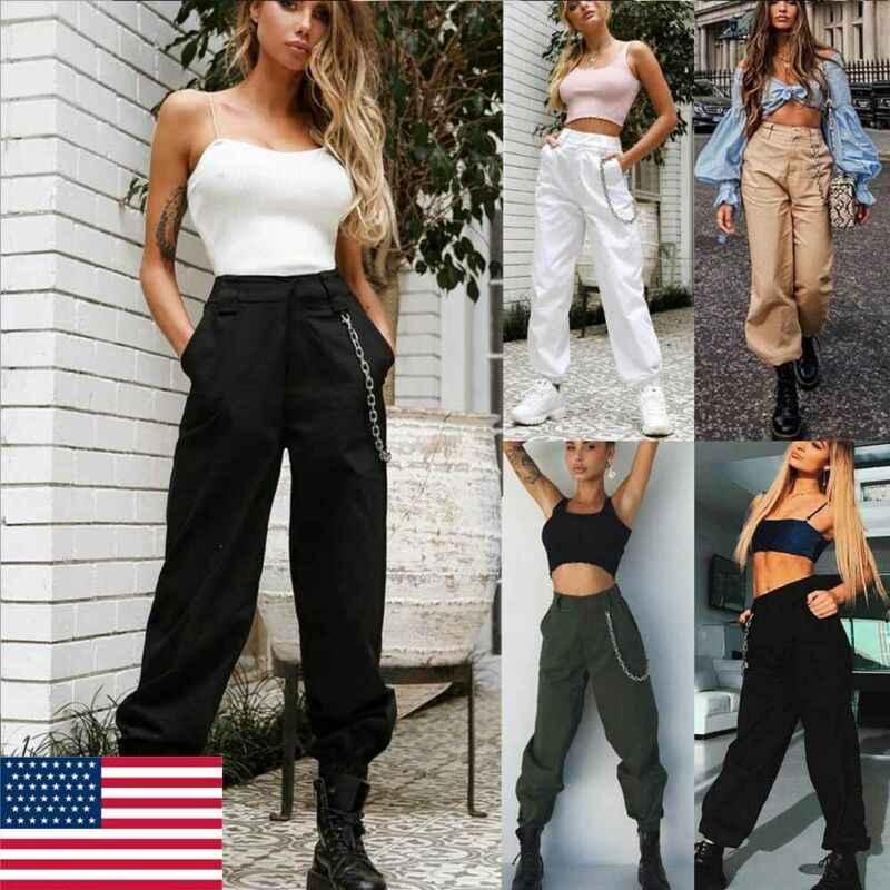 Yeni Kadın Yüksek Bel Moda pantolon Zarif Hip hop Kargo Pantolon Bayanlar Pantalon Femme Harajuku Pantolon Askeri Savaş streetwear