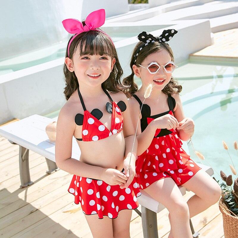 Cute Mickey Bow One-piece Swimsuit For Children GIRL'S Small CHILDREN'S Swimwear High-waisted Polka Dot Multilayer Skirt Korean-