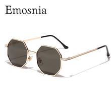 Lunettes de soleil rétro polygone pour hommes et femmes, de luxe, Vintage, petite monture ronde, lentille rose, miroir, UV400, nouvelle collection 2020