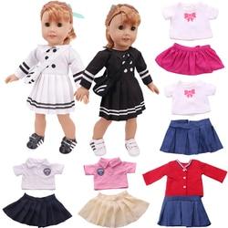 Плиссированное платье для куклы ручной работы, костюм для американской куклы 16-18 дюймов 43 см, товары для кукол новорожденных нашего поколен...