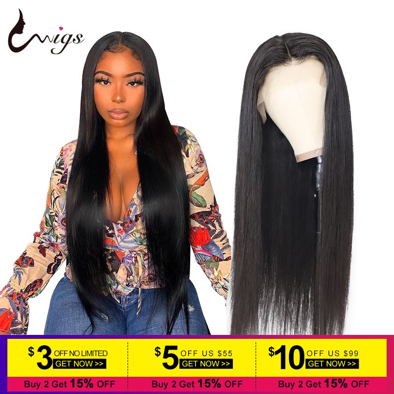 Uwigs Brazilian Straight Lace Front Wig 13x4 13X6 Lace Front Human Hair Wigs Pre Plucked HD Transparent Remy Lace Wig 8-26 Inch