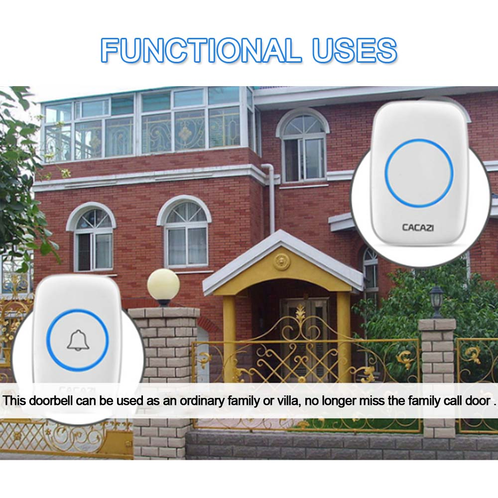Smart Wireless Doorbell Waterproof 300M Remote EU AU UK US Plug  Door Bell Battery For Apartments IR Alarm Wireless Security