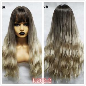 Image 4 - Pequena lana ombre loira preto marrom cosplay lolita perucas com franja longo ondulado peruca de cabelo sintético para as mulheres fibra de alta temperatura