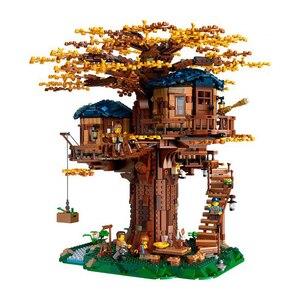 Image 2 - רעיונות עץ בית דגם עלים שני צבעים תואם בניין בלוקים לבני 21318 ילדים חינוכיים צעצוע Chirstmas מתנה
