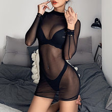 Women's Black Mesh See Through Bodycon Dress Sexy Long Sleeve Plus Size Thin Night Club Party Dress mujer robe femme Vestidos(China)