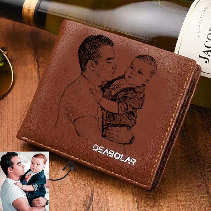 Men's Custom Engraving Photo Casual Short Wallet Three Fold Picture Wallet Custom Picture Text Father's Day Gift Picture Purse