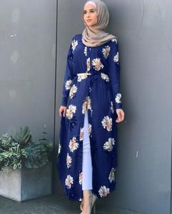 Image 2 - Kalenmos Dubai Arab Muslim Abaya Dress Women New Robes Print Floral Slim Long Sleeve Islamic Eid Casual Long Dress Plus Size 5xl