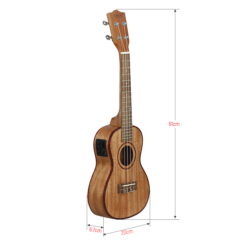 Ukulélé de haute qualité ukulélé 24 pouces Uke Kit sapélé bois avec LCD EQ y compris sac de transport Capo cordes sangle