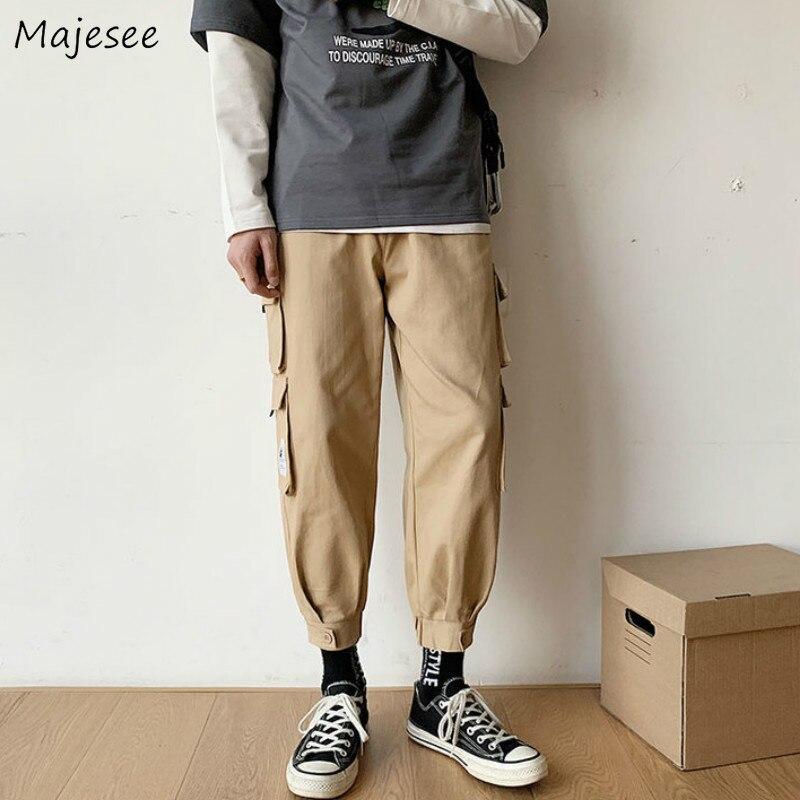 Männer Casual Cargo Hosen Solide Taschen Ankle-länge Elastische Taille Mode Streetwear Alle-spiel Koreanischen Stil Einfache Chic ins Lose