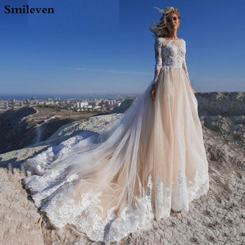 smileven summer beach wedding dress beaded princess satin bridal gowns off the shoulder boho wedding gowns custom made Smileven Beach A Line Wedding Dress Long Sleeves Champagne Boho 2020 Lace Bridal Gowns Robe de soriee Custom Made  Wedding Gowns