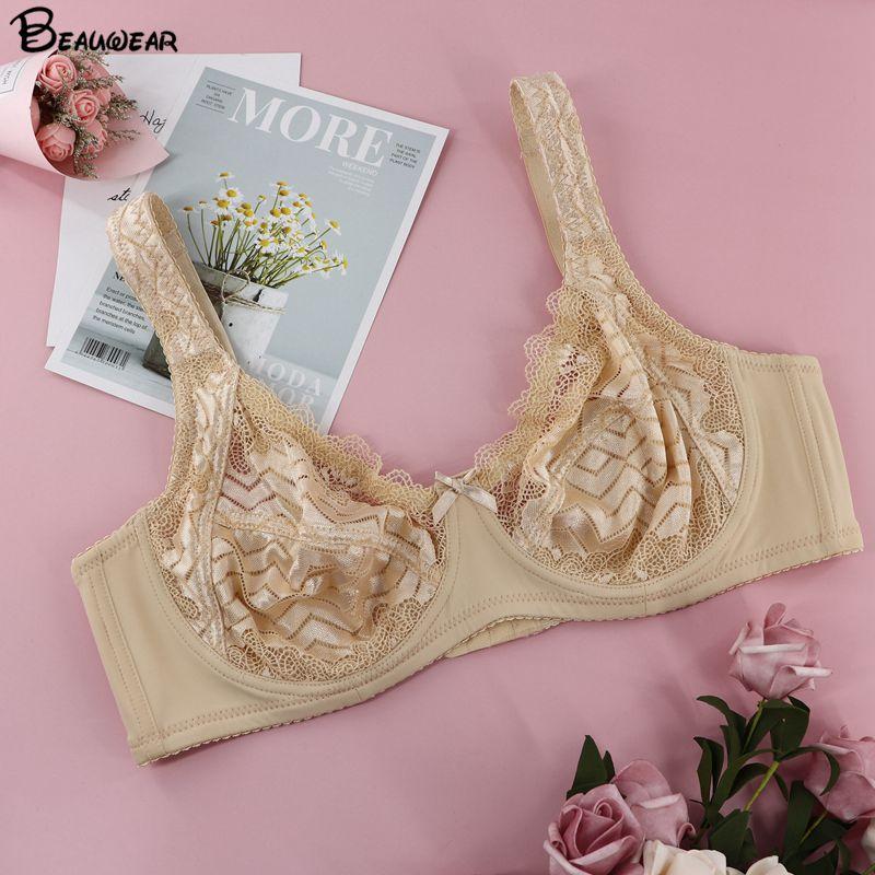 Beauwear Ultra Thin Wave Transparent Lace Bras For Women Minimzer Bralette Underwire Brassiere Unlined Top Bh B C D Plus Size