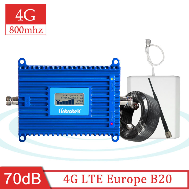 Lintratek 4G B20 800mhz Cell Phone Amplifier Europe 4G 800 Celular Signal Internet Mobile Repeater Booster Panel Antenna Set S8