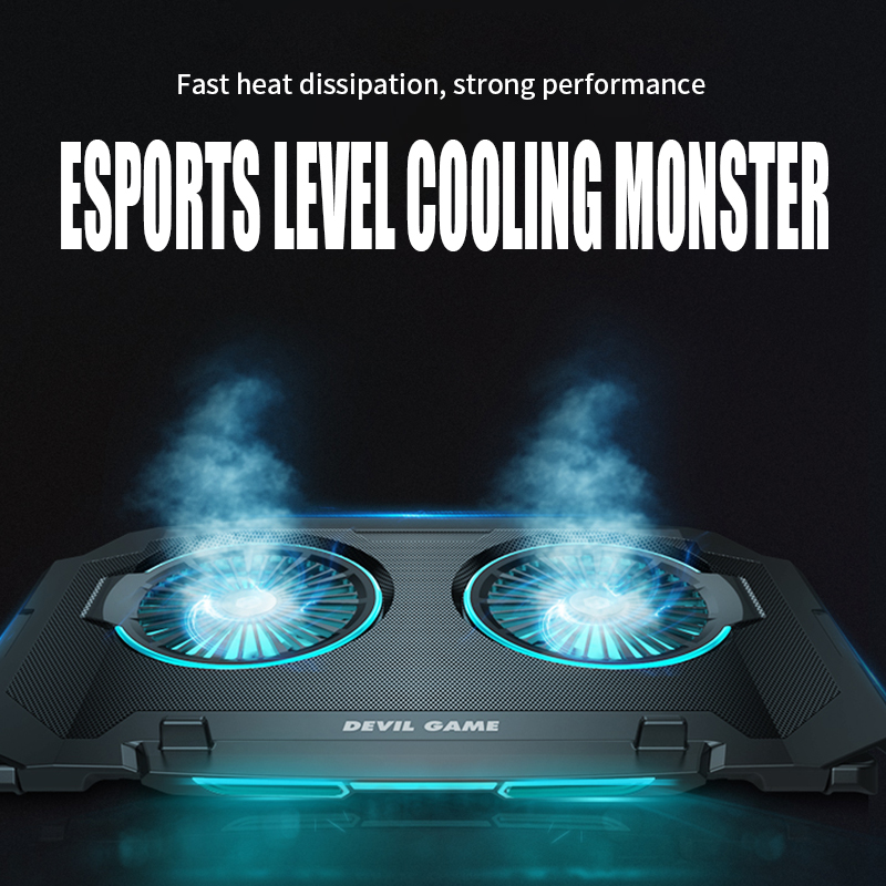 Computer Radiator Gaming Laptop Cooler Two Fan Two USB Port Led RGB Lighting Notebook Stand Laptop Usb Laptop Cooling Pad