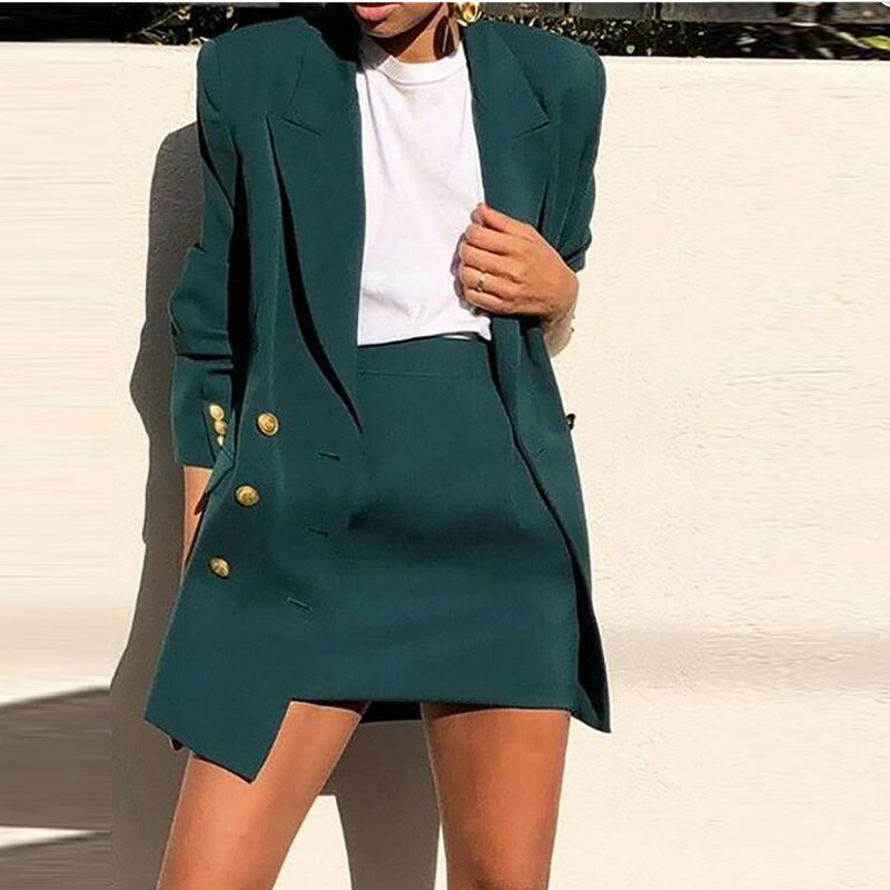 Ladies Spring 2020 Elegant Office Work Wear Skirt Suits OL 2 Piece Sets Solid Blazer Jacket With Skirt Suit For Women Set Femme