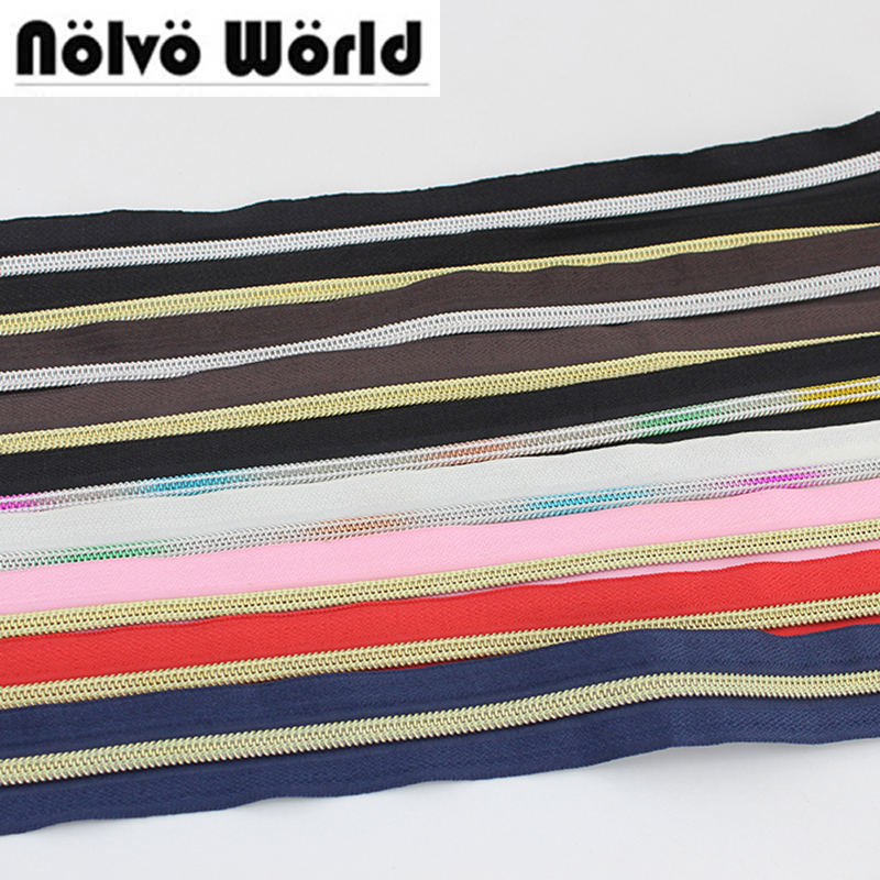 30Yards 5# Nylon Teeth Zipper,11 Colors,#5 Plastic Gold Silver Color Teeth Zippers For DIY Bags,clothing Pants Sewing