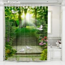 Sunshine Forest 3D Shower Curtain Flying Pigeon Decoration Bathroom Curtain Green Plant Waterproof Fabric Bath Curtain Screens