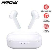 Mpow M21 TWS słuchawki Bluetooth 5.0 słuchawki bezprzewodowe 18 godzin gry Tiem z etui z funkcją ładowania sterowanie dotykowe słuchawki douszne do telefonu