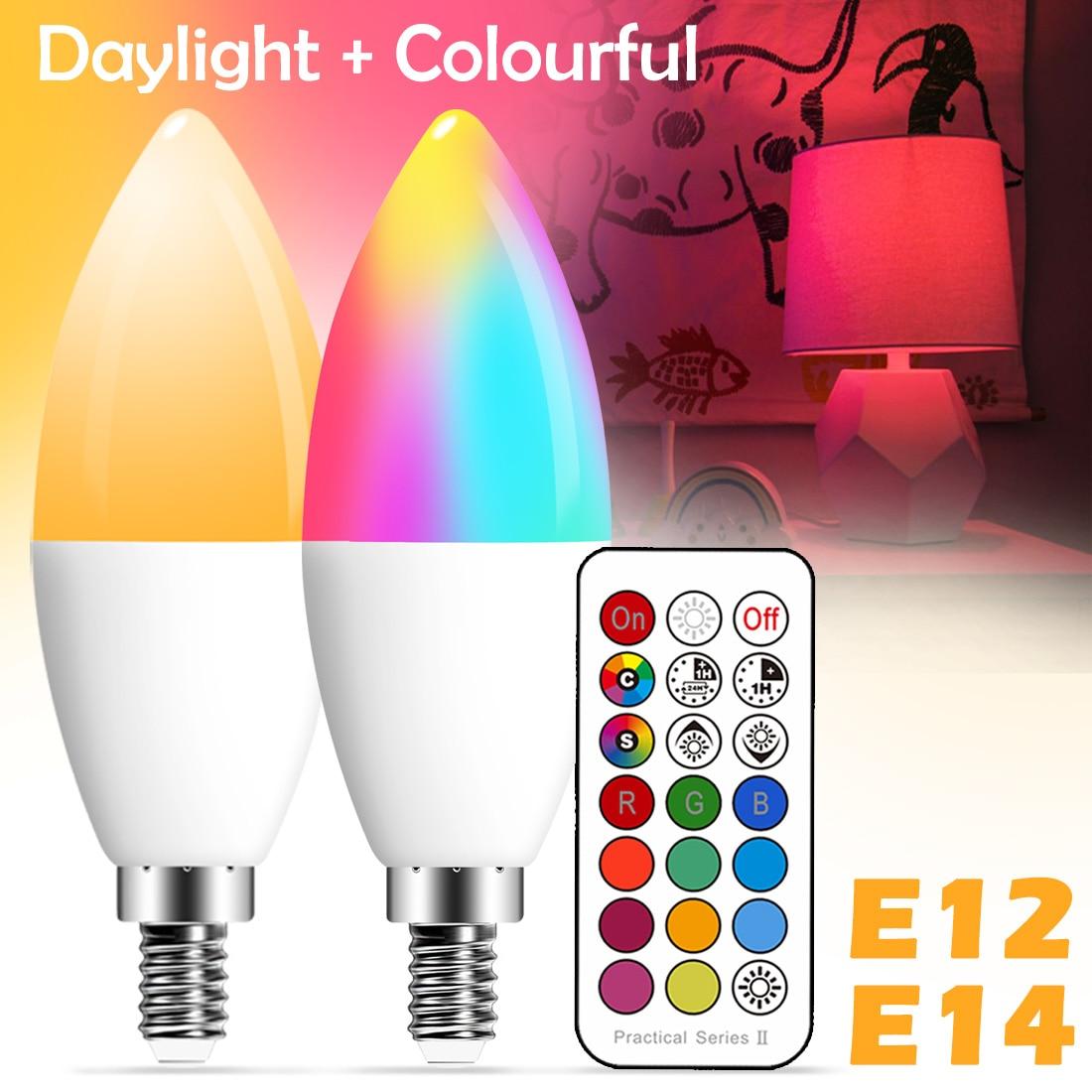 E14 Smart LED лампы в форме свечи Цвет Крытый неоновая вывеска для организаций и магазинов светильник лампа RGB ленты с контроллером светильник ing ...