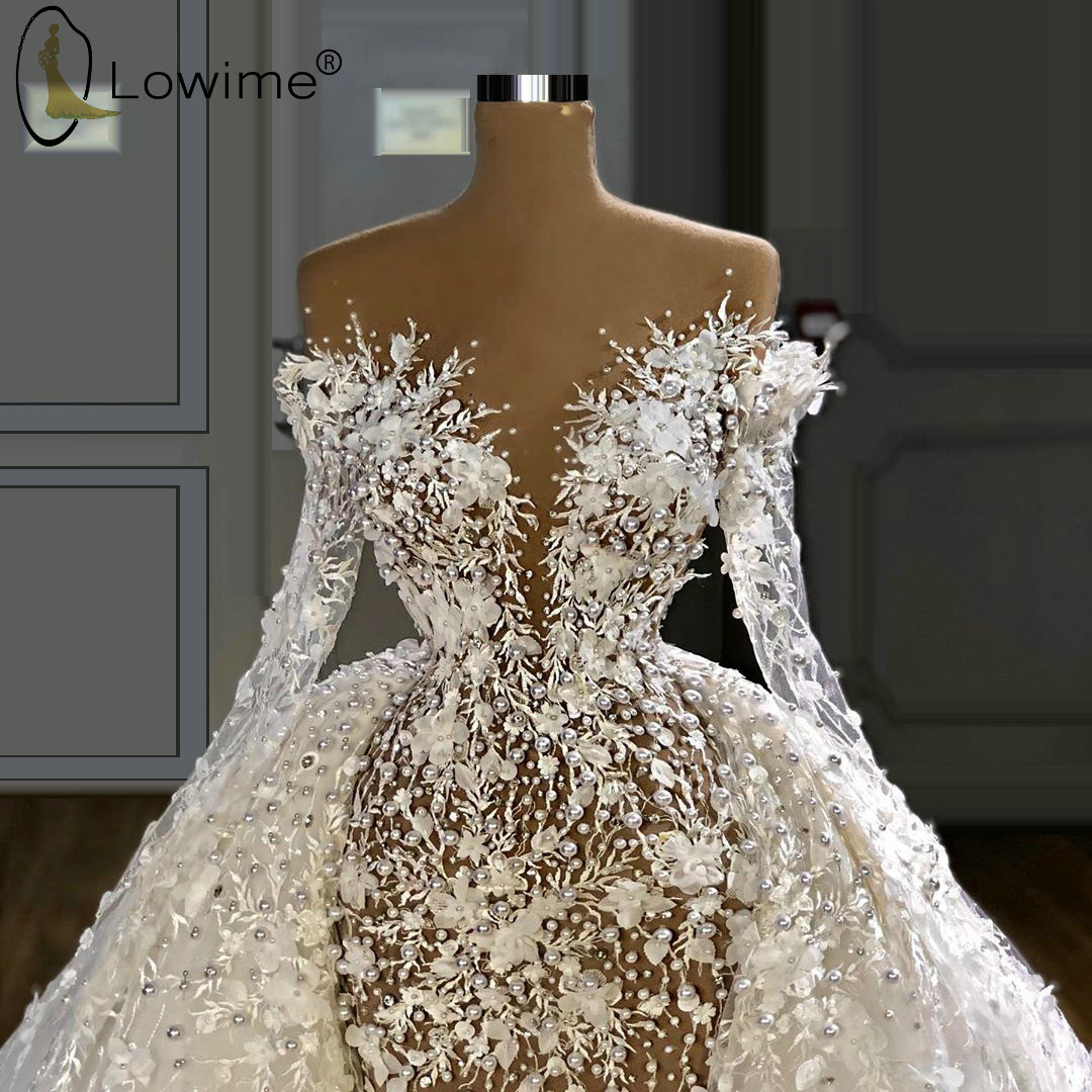 Luxury Removable Lace See Long Wedding Robes Bridal Through De Sleeve Dresses Gowns With Mari Pearls Train E  Mermaid