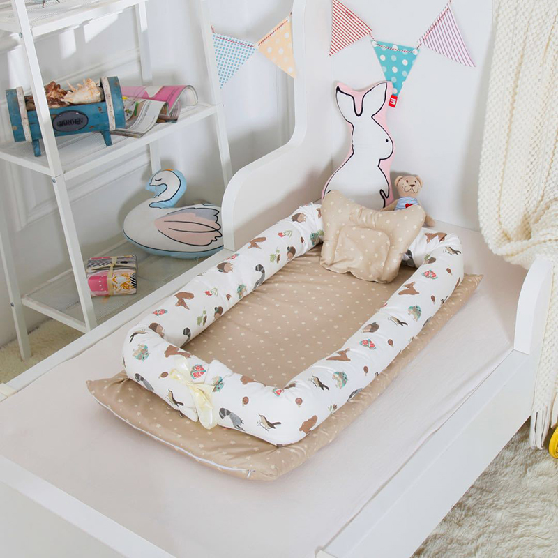 New Portable Baby Bassinet For Bed Baby Lounger For Newborn Crib Breathable And Sleep Nest With Pillow E