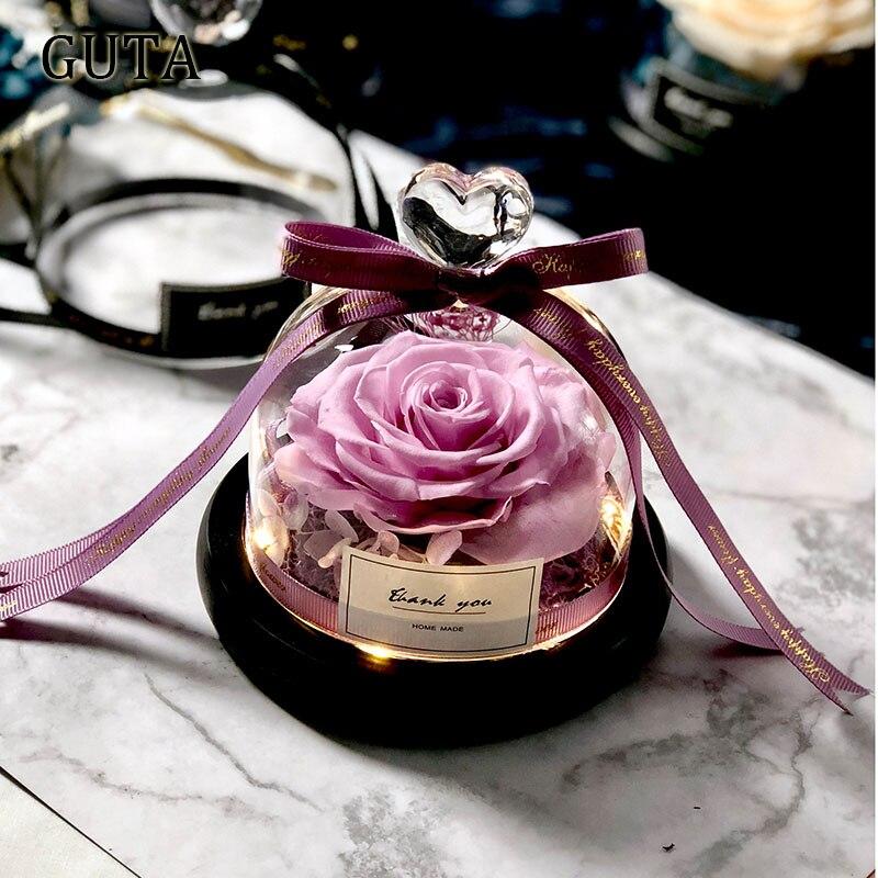 Вечная эксклюзивная Роза в стеклянном куполе Красавица и Чудовище Роза романтические подарки на день Святого Валентина подарок на Рождество подарки на праздник - Цвет: G01-K