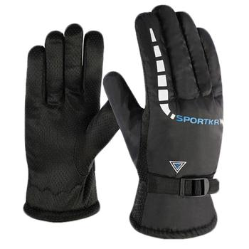 Velvet Thickening Waterproof Autumn Winter Windproof Warm Non-slip Outdoor Bicycle Riding Motorcycle Gloves Cold Wear
