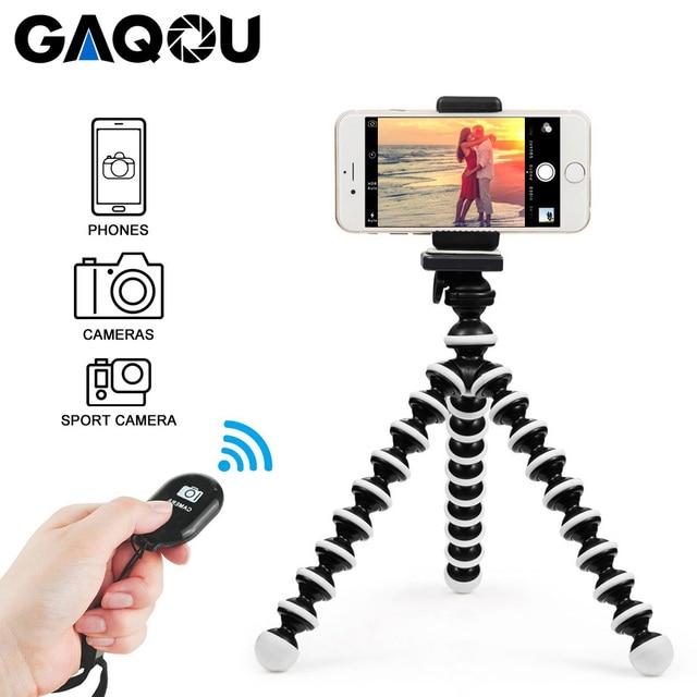 GAQOU Mini Octopus Tripod Bracket Remote Shutter Portable Flexible For Gopro Camera Mobile Phone Tripods Foldable Desktop Stand