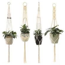 2020 Cotton Handmade Hanging Baskets Macrame Wall Hanging Plant Hanger Vintage Basket Plant Hangers Flowerpot Holder Home Decor