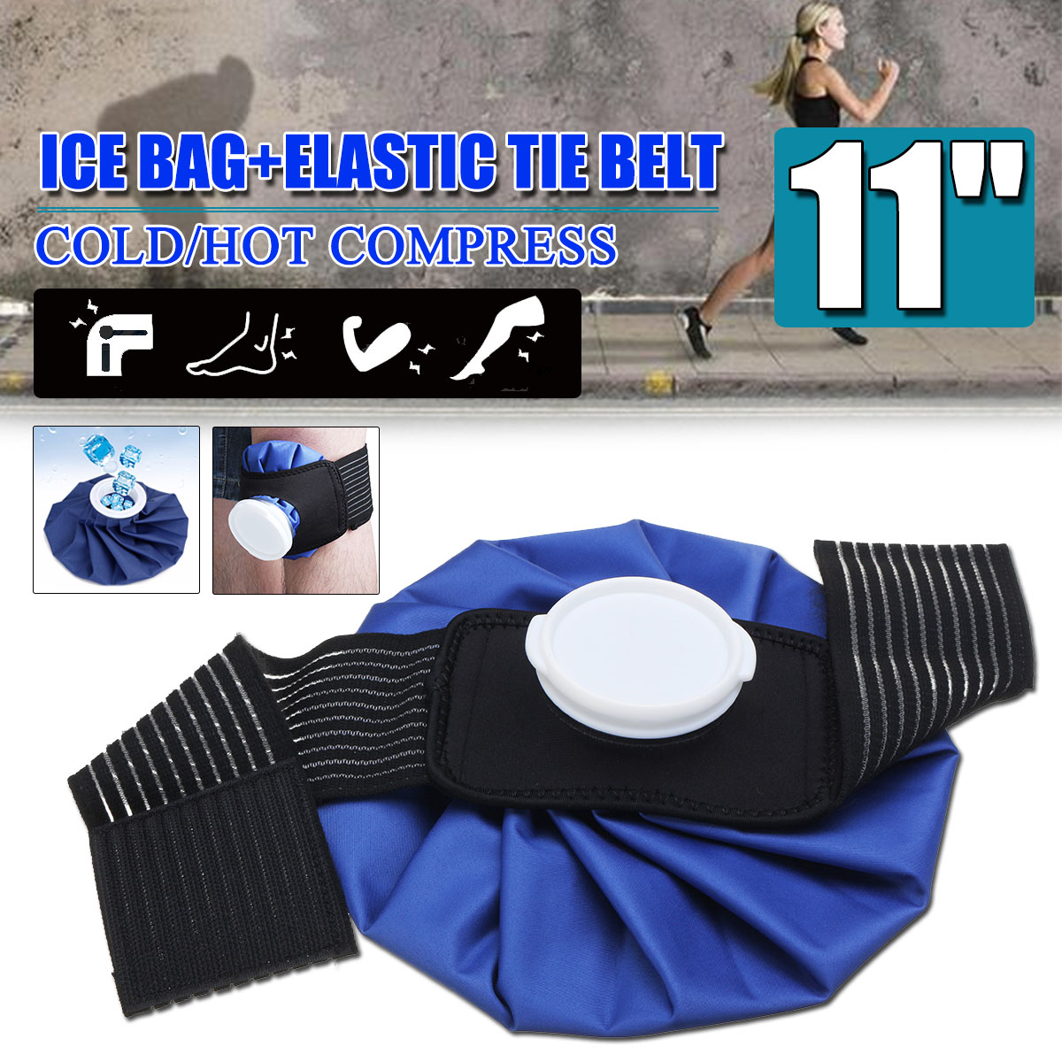 11'' Ice Bag Pack+Protector Elastic Tie Belt Set Reusable Knee Head Leg Injury Pain Relief Ice Bag Health Care First Aid