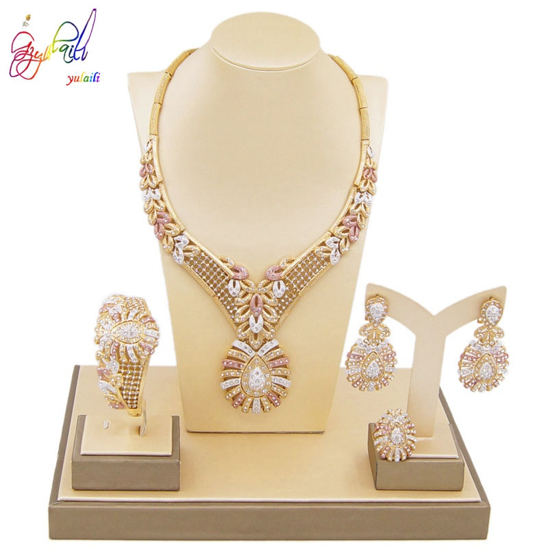 Yulaili Fashion Women Austrian Crystal Pendant Necklace Earrings Bracelet Ring Dubai Jewelry Sets Sweden Wedding Accessories