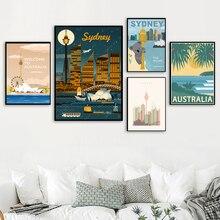 Viaje a Australia, Australia, Costa Dorada, playa, pegatinas de pared recubiertas, pinturas en lienzo, carteles Kraft Vintage, decoración del Bar del hogar, regalo
