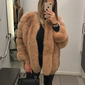 Image 2 - BFFUR Outerwear Womens Real Fur Coat 2020 Genuine Leather Natural Jacket Ladies Tops Fashion Medium Winter Coat Whole Skin Solid