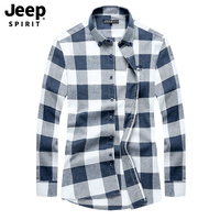 JEEP SPIRIT Original Autumn Shirt Men Casual Pure Cotton Plaid Shirt Male Big Size M 4XL Long Sleeve Shirt Men