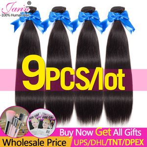 JARIN 9 Pieces/lot Bulk Sale Peruvian Straight Human Hair Extension 100% Remy Hair Bundles 30 32 34 36 38 Inch Long Hair Weave