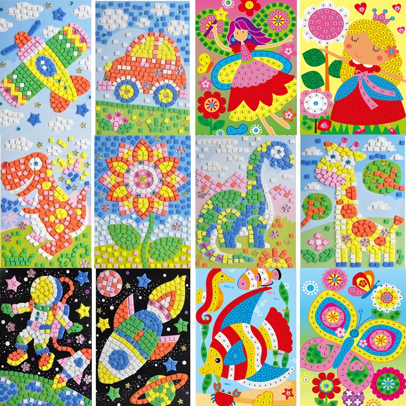 Handmade 3D Children Mosaic DIY Crystal Stickers Art EVA Foam Cartoon Animal Flower Dinosaur Creative Educational Toys For Kids