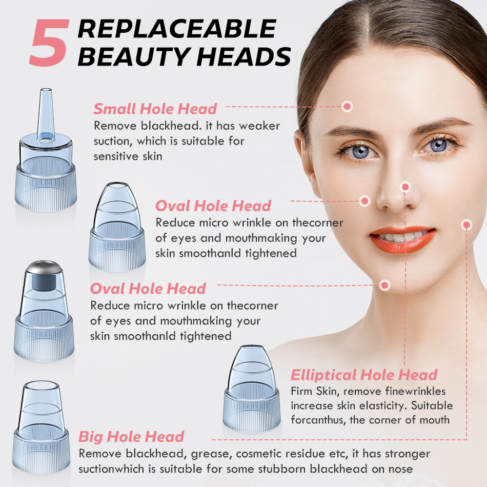 Blackhead Remover Face Deep Nose Cleaner T Zone Pore Acne Pimple Removal Vacuum Suction Facial Diamond Beauty Clean Skin Tool 5