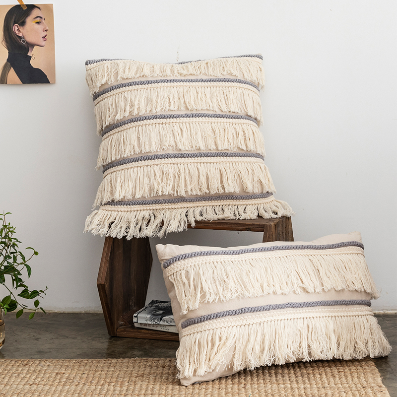 Beige Cushion Cover Tassels Fringe Grey Cotton Linen Embroidery 30x50cm/45x45cm Pillow Cover For Sofa Bed Chair Home Decorative